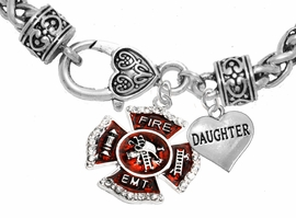 "<Br>              WHOLESALE EMT ON A MALTESE CROSS JEWELRY  <BR>                         AN ALLAN ROBIN DESIGN!! <Br>                   CADMIUM, LEAD & NICKEL FREE!!  <Br> W1720-1831B1  ""EMT  DAUGHTER"" HEART  <BR>  CHARMS ON HEART LOBSTER CLASP BRACELET <BR>            FROM $7.50 TO $9.50 �2016"