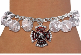 <BR>       WHOLESALE FIREFIGHTER JEWELRY!! <bR>                    EXCLUSIVELY OURS!! <Br>               AN ALLAN ROBIN DESIGN!! <BR>         LEAD, NICKEL & CADMIUM FREE!! <BR>      W20341B - SILVER TONE FIRE DEPT. <BR>  CRYSTAL CHARM & CLEAR CRYSTAL TOGGLE <BR>   BRACELET FROM $9.56 TO $21.25 �2013
