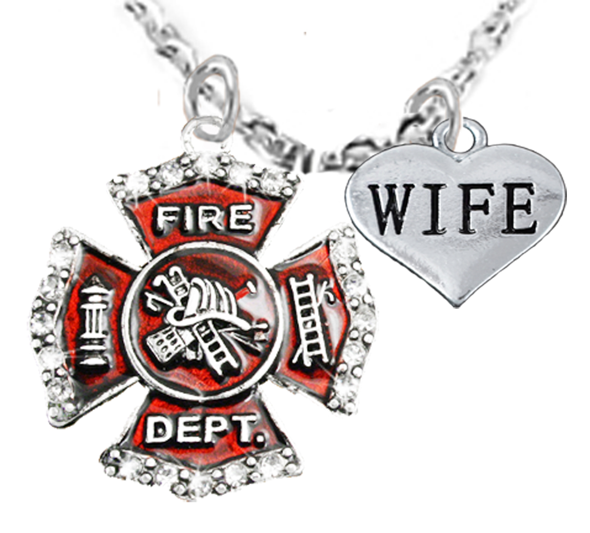 of maltese cross star life firefighter pendant necklace