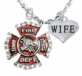 "<Br>WHOLESALE FIREFIGHTER MALTESE CROSS JEWELRY  <BR>                             AN ALLAN ROBIN DESIGN!! <Br>                    CADMIUM, LEAD & NICKEL FREE!!  <Br>     W1284-1876N1  ""FIREFIGHTER  WIFE"" HEART  <BR>      CHARMS ON ADJUSTABLE CHAIN NECKLACE<BR>                      FROM $7.50 TO $9.50 �2016"
