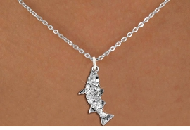 <BR>      WHOLESALE FISHING CHARM NECKLACE <bR>                    EXCLUSIVELY OURS!! <Br>               AN ALLAN ROBIN DESIGN!! <BR>      CLICK HERE TO SEE 1000+ EXCITING <BR>            CHANGES THAT YOU CAN MAKE! <BR>         LEAD, NICKEL & CADMIUM FREE!! <BR>     W1506SN - SILVER TONE AND GENUINE <BR>     AUSTRIAN CRYSTAL BASS FISH CHARM  <BR>    NECKLACE FROM $5.40 TO $9.85 �2013