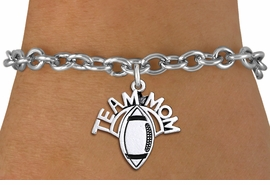 "<br> WHOLESALE FOOTBALL CHARM JEWELRY <bR>                     EXCLUSIVELY OURS!! <BR>                AN ALLAN ROBIN DESIGN!! <BR>       CLICK HERE TO SEE 1000+ EXCITING <BR>             CHANGES THAT YOU CAN MAKE! <BR>          CADMIUM, LEAD & NICKEL FREE!! <BR>        W1488SB - DETAILED SILVER TONE <Br> ""TEAM MOM"" FOOTBALL CHARM & BRACELET <BR>              FROM $4.50 TO $8.35 �2013"