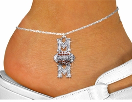 "<bR>   WHOLESALE FOOTBALL CHARM JEWELRY <BR>                  EXCLUSIVELY OURS!! <BR>             AN ALLAN ROBIN DESIGN!! <BR>       LEAD, NICKEL & CADMIUM FREE!! <BR> W1476SAK - SILVER TONE FOOTBALL ""MOM"" <BR> TOPAZ & CLEAR CRYSTAL CHARM ANKLET <Br>           FROM $5.40 TO $9.85 �2013"