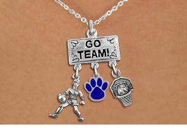 "<br> WHOLESALE GIRLS BASKETBALL NECKLACE<Br>               EXCLUSIVELY OURS!! <Br>          AN ALLAN ROBIN DESIGN!! <Br>             LEAD & NICKEL FREE!! <BR>      THIS IS A PERSONALIZED ITEM <Br> W20119N - SILVER TONE ""GO TEAM!"" <BR> PLAYER, COLOR PAW AND HOOP CHARMS <BR>         BASKETBALL THEMED PENDANT<BR>  ON LOBSTER CLASP CHAIN NECKLACE <BR>         FROM $7.85 TO $17.50 �2013"