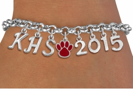 <br> WHOLESALE GRADUATION BRACELET<Br>                    EXCLUSIVELY OURS!!<Br>              AN ALLAN ROBIN DESIGN!!<Br>                   LEAD & NICKEL FREE!! <BR>         THIS IS A PERSONALIZED ITEM <Br>  W20084B - SILVER TONE LOBSTER CLASP <BR>     CUSTOM CHARM BRACELET WITH YOUR <BR>  HIGH SCHOOL INITIALS, PAW AND YEAR <BR>          FROM $9.00 TO $20.00 �2013