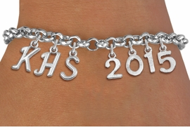 <br> WHOLESALE GRADUATION JEWELRY<Br>                    EXCLUSIVELY OURS!!<Br>              AN ALLAN ROBIN DESIGN!!<Br>                   LEAD & NICKEL FREE!! <BR>         THIS IS A PERSONALIZED ITEM <Br>  W20083B - SILVER TONE LOBSTER CLASP <BR>     CUSTOM CHARM BRACELET WITH YOUR <BR>  HIGH SCHOOL INITIALS AND YEAR <BR>          FROM $7.85 TO $17.50 �2013