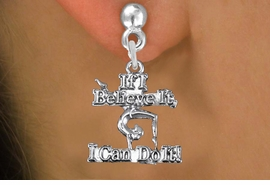 "<br> WHOLESALE GYMNASTIC EARRING<bR>                EXCLUSIVELY OURS!!<BR>           AN ALLAN ROBIN DESIGN!!<BR>   CLICK HERE TO SEE 600+ EXCITING<BR>        CHANGES THAT YOU CAN MAKE!<BR>     CADMIUM, LEAD & NICKEL FREE!!<BR> W1407SE - ""IF I BELIEVE IT, I CAN DO IT!"" <Br>        GYMNASTICS CHARM EARRINGS <BR>         FROM $4.50 TO $8.35 �2013"