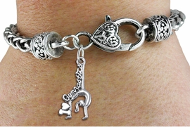"""<BR>      WHOLESALE GYMNASTIC JEWELRY<bR>                     EXCLUSIVELY OURS!!<BR>               AN ALLAN ROBIN DESIGN!! <BR>         CADMIUM, LEAD & NICKEL FREE!! <BR>  W1426SB - """"I LOVE GYMNASTICS"""" WITH <BR> GYMNAST CHARM & HEART LOBSTER CLASP <BR>     BRACELET FROM $3.94 TO $8.75 �2013"""