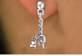 """<BR>      WHOLESALE GYMNASTIC JEWELRY<bR>            EXCLUSIVELY OURS!! <BR>       AN ALLAN ROBIN DESIGN!! <BR> CADMIUM, LEAD & NICKEL FREE!! <BR> W1426SE - """"I LOVE GYMNASTICS"""" <Br>   WITH GYMNAST CHARM EARRINGS <BR>     FROM $4.50 TO $8.35 �2013"""