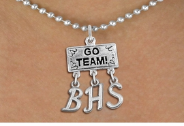 "<br> WHOLESALE HIGH SCHOOL JEWELRY<Br>                  EXCLUSIVELY OURS!!<Br>            AN ALLAN ROBIN DESIGN!!<Br>                 LEAD & NICKEL FREE!! <BR>       THIS IS A PERSONALIZED ITEM <Br> W20102N - SILVER TONE ""GO TEAM!"" <BR> CHARM ON BALL CHAIN NECKLACE WITH <BR>     YOUR HIGH SCHOOL INITIALS <BR>        FROM $7.85 TO $17.50 �2013"