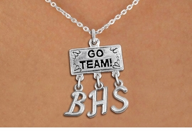 "<br> WHOLESALE HIGH SCHOOL NECKLACE<Br>                  EXCLUSIVELY OURS!!<Br>            AN ALLAN ROBIN DESIGN!!<Br>                 LEAD & NICKEL FREE!! <BR>       THIS IS A PERSONALIZED ITEM <Br> W20106N - SILVER TONE ""GO TEAM!"" <BR> CHARM ON CHAIN LINK NECKLACE WITH <BR>    YOUR HIGH SCHOOL INITIALS <BR>        FROM $7.85 TO $17.50 �2013"