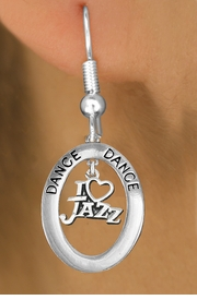 "<BR>            WHOLESALE JAZZ DANCE JEWELRY<bR>                    EXCLUSIVELY OURS!! <BR>               AN ALLAN ROBIN DESIGN!!<BR>                  LEAD & NICKEL FREE!! <BR> W20036E -  SILVER TONE ""DANCE"" OVAL <BR>   WITH SILVER TONE ""I LOVE JAZZ"" <BR>       CHARM ON FISHHOOK EARRINGS <BR>          FROM $8.10 TO $18.00 �2013"