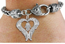 <BR>WHOLESALE JEWISH JEWELRY<bR>               EXCLUSIVELY OURS!! <BR>             LEAD & NICKEL FREE!! <BR>  JEWISH THEMED CHARM BRACELET!! <BR>  W20271B - GUARDIAN ANGEL WINGS <Br>     WITH SILVER TONE HAMSA PALM <BR>    CHARM & HEART CLASP BRACELET <BR>      FROM $6.19 TO $13.75 �2013