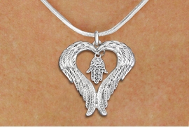 <BR>      WHOLESALE JEWISH JEWELRY<bR>               EXCLUSIVELY OURS!! <BR>             LEAD & NICKEL FREE!! <BR>   JEWISH THEMED CHARM NECKLACE!! <BR>   W20272N - GUARDIAN ANGEL WINGS <Br>      WITH SILVER TONE HAMSA PALM <BR>   CHARM ON SNAKE CHAIN NECKLACE <BR>      FROM $5.63 TO $12.50 �2013