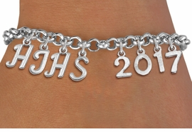 <br> WHOLESALE JUNIOR HIGH GRADUATION JEWELRY<Br>                   EXCLUSIVELY OURS!!<Br>             AN ALLAN ROBIN DESIGN!!<Br>                  LEAD & NICKEL FREE!! <BR>        THIS IS A PERSONALIZED ITEM <Br> W20077B - SILVER TONE LOBSTER CLASP <BR>    CUSTOM CHARM BRACELET WITH YOUR <BR>      HIGH SCHOOL INITIALS AND YEAR <BR>         FROM $9.00 TO $20.00 �2013