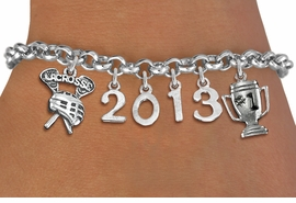 "<br>    WHOLESALE LACROSSE CHARM BRACELET! <Br>                      EXCLUSIVELY OURS!! <Br>                 AN ALLAN ROBIN DESIGN!! <Br>                    LEAD & NICKEL FREE!! <BR>             THIS IS A PERSONALIZED ITEM <Br>     W20473B - SILVER TONE LOBSTER CLASP <BR>  ""LACROSSE"", #1 TROPHY AND CUSTOM YEAR <BR>     BRACELET FROM $9.00 TO $20.00 �2013"