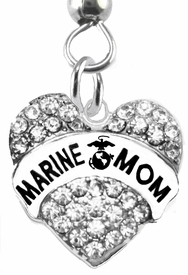 "<BR>    WHOLESALE ""MARINE MOM"" FASHION EARRING  <bR>                      EXCLUSIVELY OURS!!  <Br>                 AN ALLAN ROBIN DESIGN!!  <BR>           NICKEL,   LEAD, & CADMIUM FREE!!  <BR>                W1810E1 -  SILVER TONE AND  <BR>CLEAR CRYSTAL ""MARINE MOM"" CHARM  <BR>     ON SURGICAL STEEL FISHHOOK EARRINGS <BR>              FROM $5.98 TO $12.85 �2015"