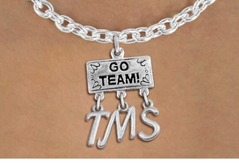 "<br> WHOLESALE MIDDLE SCHOOL JEWELRY<Br>                  EXCLUSIVELY OURS!!<Br>            AN ALLAN ROBIN DESIGN!!<Br>                 LEAD & NICKEL FREE!! <BR>       THIS IS A PERSONALIZED ITEM <Br> W20112N - SILVER TONE ""GO TEAM!"" <BR> CHARM ON TOGGLE CHAIN NECKLACE WITH <BR>   YOUR MIDDLE SCHOOL INITIALS <BR>        FROM $7.85 TO $17.50 �2013"