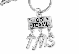 "<br> WHOLESALE MIDDLE SCHOOL KEY RING<Br>                  EXCLUSIVELY OURS!!<Br>            AN ALLAN ROBIN DESIGN!!<Br>                 LEAD & NICKEL FREE!! <BR>       THIS IS A PERSONALIZED ITEM <Br> W20100KC - SILVER TONE ""GO TEAM!"" <BR> CHARM ON CUSTOM KEY RING WITH <BR>    YOUR MIDDLE SCHOOL INITIALS <BR>        FROM $6.41 TO $14.25 �2013"
