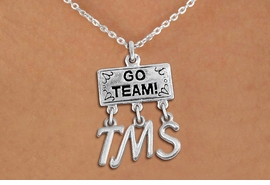 "<br> WHOLESALE MIDDLE SCHOOL NECKLACE<Br>                  EXCLUSIVELY OURS!!<Br>            AN ALLAN ROBIN DESIGN!!<Br>                 LEAD & NICKEL FREE!! <BR>       THIS IS A PERSONALIZED ITEM <Br> W20108N - SILVER TONE ""GO TEAM!"" <BR> CHARM ON CHAIN LINK NECKLACE WITH <BR>     YOUR MIDDLE SCHOOL INITIALS <BR>        FROM $7.85 TO $17.50 �2013"