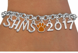 <br> WHOLESALE MIDDLE SCHOOL PAW JEWELRY<Br>                    EXCLUSIVELY OURS!!<Br>              AN ALLAN ROBIN DESIGN!!<Br>                   LEAD & NICKEL FREE!! <BR>         THIS IS A PERSONALIZED ITEM <Br>  W20090B - SILVER TONE LOBSTER CLASP <BR>     CUSTOM CHARM BRACELET WITH YOUR <BR> MIDDLE SCHOOL INITIALS, PAW AND YEAR <BR>          FROM $9.56 TO $21.25 �2013