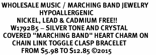 "<BR> WHOLESALE MUSIC / MARCHING BAND JEWELRY     <br>                          HYPOALLERGENIC     <BR>           NICKEL, LEAD & CADMIUM FREE!!     <BR>       W1792B5 - SILVER TONE AND CRYSTAL    <BR>  COVERED ""MARCHING BAND"" HEART CHARM ON     <BR>        CHAIN LINK TOGGLE CLASP BRACELET    <br>              FROM $5.98 TO $12.85 �15"