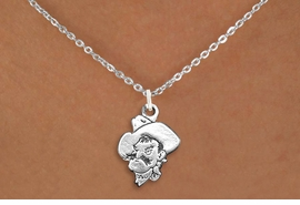 "<BR>WHOLESALE OPKLAHOMA STATE JEWELRY<Br>              LEAD & NICKEL FREE!! <Br>        OFFICIALLY LICENSED ITEM!! <bR> W20241N - LICENSED OKLAHOMA STATE <Br> UNIVERSITY ""COWBOYS"" LOGO NECKLACE <Br>               FROM $3.94 TO $8.75"