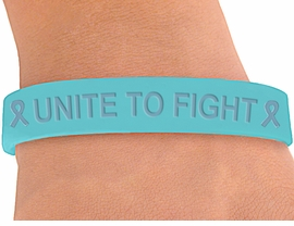 "<BR>      WHOLESALE OVARIAN CANCER JEWELRY<BR>W4262JB - ORIGINAL ""UNITE TO FIGHT""<BR>          TEAL AWARENESS JELLY BAND<BR>      BRACELET©2004 AS LOW AS $.29<BR>  WE ARE THE ONLY MANUFACTURER OF<BR>                         THIS BRACELET!"