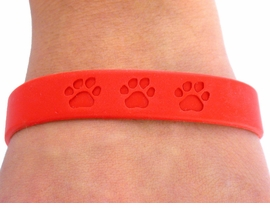 <BR>      WHOLESALE PAW JEWELRY<bR>      EXCLUSIVELY OURS!!<Br> W4566JPB - BRIGHT RED<BR>SCHOOL SPIRIT PAW JELLY<br> BRACELETS©2004 FROM<Br>              $.97 TO $5.00