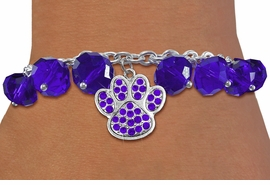 <BR>        WHOLESALE PAW PRINT BRACELET!! <bR>                    EXCLUSIVELY OURS!! <Br>               AN ALLAN ROBIN DESIGN!! <BR>         LEAD, NICKEL & CADMIUM FREE!! <BR> W20630B - SILVER TONE PAW WITH PURPLE <BR> CRYSTAL CHARM & PURPLE CRYSTAL TOGGLE <BR>   BRACELET FROM $9.56 TO $21.25 �2013