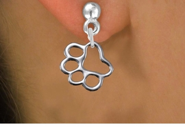 <br>  WHOLESALE PAW PRINT EARRINGS <bR>                 EXCLUSIVELY OURS!! <BR>            AN ALLAN ROBIN DESIGN!! <BR>      CADMIUM, LEAD & NICKEL FREE!! <BR>    W441SE - LARGE SILVER TONE OPEN <Br>           PAW PRINT CHARM EARRINGS <BR>          FROM $4.50 TO $8.35 �2013