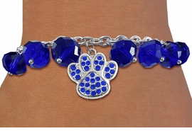 <BR>        WHOLESALE PAW PRINT JEWELRY!! <bR>                    EXCLUSIVELY OURS!! <Br>               AN ALLAN ROBIN DESIGN!! <BR>         LEAD, NICKEL & CADMIUM FREE!! <BR>  W20627B - SILVER TONE PAW WITH BLUE <BR>  CRYSTAL CHARM & BLUE CRYSTAL TOGGLE <BR>   BRACELET FROM $9.56 TO $21.25 �2013