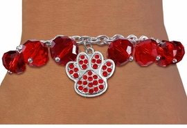 <BR>        WHOLESALE PAW PRINT JEWELRY!! <bR>                    EXCLUSIVELY OURS!! <Br>               AN ALLAN ROBIN DESIGN!! <BR>         LEAD, NICKEL & CADMIUM FREE!! <BR>    W20631B - SILVER TONE PAW WITH RED <BR>    CRYSTAL CHARM & RED CRYSTAL TOGGLE <BR>   BRACELET FROM $9.56 TO $21.25 �2013