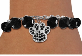 <BR>        WHOLESALE PAW PRINT JEWELRY!! <bR>                    EXCLUSIVELY OURS!! <Br>               AN ALLAN ROBIN DESIGN!! <BR>         LEAD, NICKEL & CADMIUM FREE!! <BR>  W20636B - SILVER TONE PAW WITH JET <BR>  CRYSTAL CHARM & BLACK CRYSTAL TOGGLE <BR>   BRACELET FROM $9.56 TO $21.25 �2013