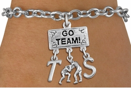 "<br>WHOLESALE PERSONALIZED WRESTLING BRACELET<Br>                  EXCLUSIVELY OURS!! <Br>             AN ALLAN ROBIN DESIGN!! <Br>                LEAD & NICKEL FREE!! <BR>        THIS IS A PERSONALIZED ITEM! <BR>    W20156B - SILVER TONE ""GO TEAM!"" <BR>  MENS WRESTLING THEMED PENDANT WITH <BR>  WRESTLERS CHARM, & CUSTOM INITIALS <BR>       ON TOGGLE CLASP LINK BRACELET <BR>           FROM $7.85 TO $17.50 �2013"