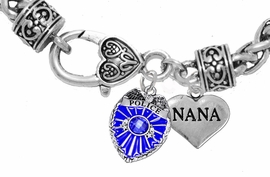 "<Br>              WHOLESALE POLICE CRYSTAL JEWELRY  <BR>                         AN ALLAN ROBIN DESIGN!! <Br>                   CADMIUM, LEAD & NICKEL FREE!!  <Br>         W1329-1827B1  ""I LOVE YOU NANA"" HEART  <BR>      CHARMS ON HEART LOBSTER CLASP BRACELET <BR>                     FROM $7.50 TO $9.50 �2016"