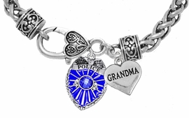 "<Br>              WHOLESALE POLICE CRYSTAL JEWELRY  <BR>                         AN ALLAN ROBIN DESIGN!! <Br>                   CADMIUM, LEAD & NICKEL FREE!!  <Br>         W1329-1832B1  ""I LOVE YOU GRANDMA"" HEART  <BR>      CHARMS ON HEART LOBSTER CLASP BRACELET <BR>                     FROM $7.50 TO $9.50 �2016"