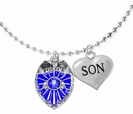 "<Br>                           WHOLESALE POLICE JEWELRY  <BR>                             AN ALLAN ROBIN DESIGN!! <Br>                    CADMIUM, LEAD & NICKEL FREE!!  <Br>           W1329-1830N5  I LOVE YOU "" SON"" HEART  <BR>         CHARMS ON ADJUSTABLE CHAIN NECKLACE<BR>                      FROM $7.50 TO $9.50 �2016"