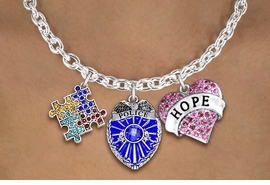 "<BR>      WHOLESALE POLICE JEWELRY<bR>             LEAD & NICKEL FREE!! <BR> LARGE, BEAUTIFUL, CRYSTAL CHARMS <BR> W20249N - CRYSTAL POLICE BADGE, ""HOPE"" <BR> HEART, AND AUSTISM AWARENESS PUZZLE <BR>  CHARMS ON TOGGLE CLASP NECKLACE <BR>      FROM $11.81 TO $26.25 �2013"