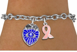 <BR>        WHOLESALE POLICE JEWELRY <bR>            LEAD & NICKEL FREE!! <BR> W20328B - POLICE BADGE / SHIELD &<BR>  PINK AWARENESS RIBBON CHARMS <BR>        ON TOGGLE CLASP BRACELET <BR>      FROM $5.06 TO $11.25 �2013