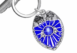 <BR>              WHOLESALE POLICE JEWELRY!! <Br>                LEAD & NICKEL FREE!! <Br> W20332KC - CRYSTAL AND BLUE ENAMELED <Br>       POLICE BADGE / SHIELD KEY RING <Br>            FROM $4.16 TO $9.25 EACH
