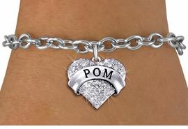 "<BR>      WHOLESALE POM BRACELET<bR>                EXCLUSIVELY OURS!! <Br>           AN ALLAN ROBIN DESIGN!! <BR>  CLICK HERE TO SEE 1000+ EXCITING <BR>        CHANGES THAT YOU CAN MAKE! <BR>     LEAD, NICKEL & CADMIUM FREE!! <BR> W1411SB - SILVER TONE ""POM"" CLEAR <BR>    CRYSTAL HEART CHARM & BRACELET <BR>         FROM $5.40 TO $9.85 �2013"