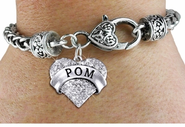 "<BR>      WHOLESALE POM BRACELET<bR>             EXCLUSIVELY OURS!! <BR>        AN ALLAN ROBIN DESIGN!! <BR>           LEAD & NICKEL FREE!! <BR>    W1411SB - SILVER TONE ""POM"" <BR>   CLEAR CRYSTAL HEART CHARM ON <BR>   HEART LOBSTER CLASP BRACELET <Br>     FROM $5.63 TO $12.50 �2013"