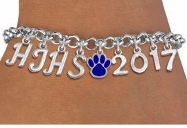 <br> WHOLESALE SCHOOL GRADUATION JEWELRY<Br>                   EXCLUSIVELY OURS!!<Br>             AN ALLAN ROBIN DESIGN!!<Br>                  LEAD & NICKEL FREE!! <BR>        THIS IS A PERSONALIZED ITEM <Br> W20078B - SILVER TONE LOBSTER CLASP <BR>    CUSTOM CHARM BRACELET WITH YOUR <BR> HIGH SCHOOL INITIALS, PAW AND YEAR <BR>         FROM $9.56 TO $21.25 �2013