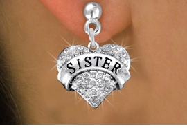 "<BR>      WHOLESALE SISTER EARRING<bR>              EXCLUSIVELY OURS!! <Br>         AN ALLAN ROBIN DESIGN!! <BR>   LEAD, NICKEL & CADMIUM FREE!! <BR>W1417SE - SILVER TONE ""SISTER"" CLEAR <BR>    CRYSTAL HEART CHARM EARRINGS <BR>      FROM $4.95 TO $10.00 �2013"