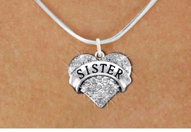 "<BR>      WHOLESALE SISTER JEWELRY<bR>                   EXCLUSIVELY OURS!! <Br>              AN ALLAN ROBIN DESIGN!! <BR>     CLICK HERE TO SEE 1000+ EXCITING <BR>           CHANGES THAT YOU CAN MAKE! <BR>        LEAD, NICKEL & CADMIUM FREE!! <BR>  W1417SN - SILVER TONE ""SISTER"" CLEAR <BR>     CRYSTAL HEART CHARM AND NECKLACE <BR>            FROM $5.40 TO $9.85 �2013"