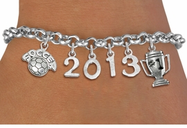 "<br>    WHOLESALE SOCCER CHARM BRACELET! <Br>                      EXCLUSIVELY OURS!! <Br>                 AN ALLAN ROBIN DESIGN!! <Br>                    LEAD & NICKEL FREE!! <BR>             THIS IS A PERSONALIZED ITEM <Br>     W20471B - SILVER TONE LOBSTER CLASP <BR>    ""SOCCER"", #1 TROPHY AND CUSTOM YEAR <BR>     BRACELET FROM $9.00 TO $20.00 �2013"