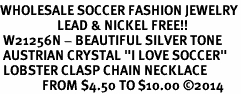 """<br>WHOLESALE SOCCER FASHION JEWELRY<bR>                   LEAD & NICKEL FREE!! <BR> W21256N - BEAUTIFUL SILVER TONE <BR> AUSTRIAN CRYSTAL """"I LOVE SOCCER"""" <BR> LOBSTER CLASP CHAIN NECKLACE <BR>              FROM $4.50 TO $10.00 �14"""