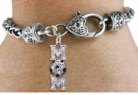 "<bR>     WHOLESALE SOCCER HEART BRACELET <BR>                    EXCLUSIVELY OURS!! <BR>               AN ALLAN ROBIN DESIGN!! <BR>       LEAD, CADMIUM, & NICKEL FREE!! <BR>    W1474SB - SILVER TONE SOCCER ""MOM""<BR>CLEAR CRYSTAL AND BLACK ACCENTS CHARM <BR>       ON HEART LOBSTER CLASP BRACELET <Br>                FROM $5.63 TO $12,50 �2013"