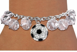 <BR>            WHOLESALE SOCCER JEWELRY!! <bR>                    EXCLUSIVELY OURS!! <Br>               AN ALLAN ROBIN DESIGN!! <BR>         LEAD, NICKEL & CADMIUM FREE!! <BR>     W20339B - SILVER TONE SOCCER BALL <BR>  CRYSTAL CHARM & CLEAR CRYSTAL TOGGLE <BR>   BRACELET FROM $9.56 TO $21.25 �2013